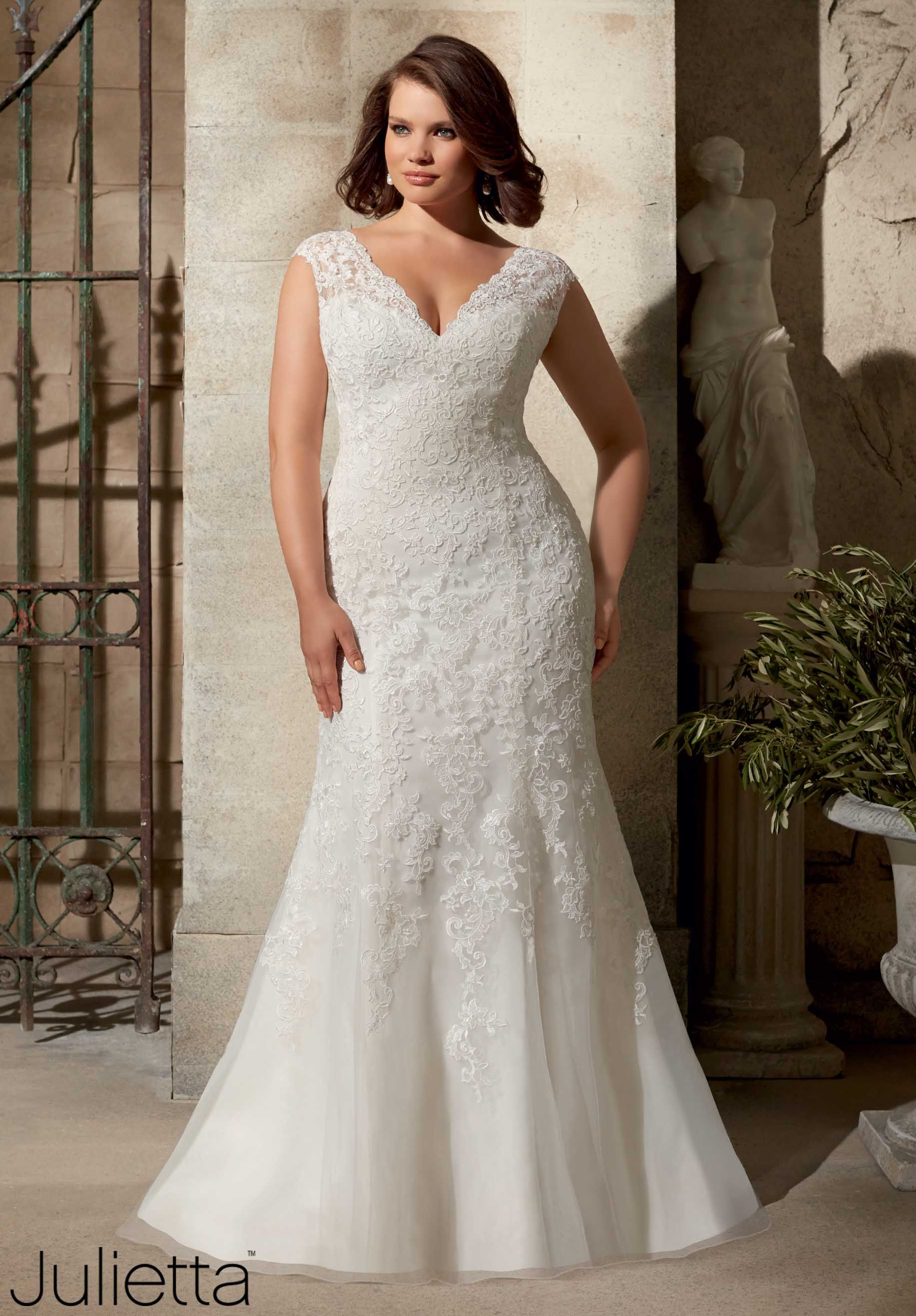 Wedding Gowns By Julietta featuring Venice Lace Appliques on Soft N ...
