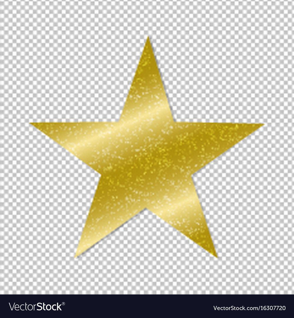 Golden star on transparent background Royalty Free Vector