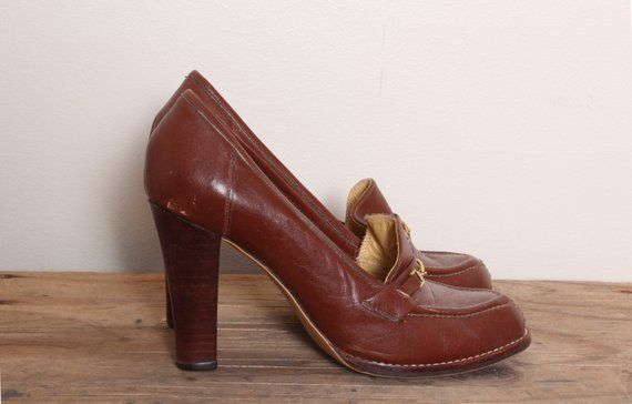 91f597910b3e3 Vintage loafer heels, 70s stacked Heels, Oxford Shoes, Heeled ...