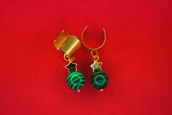 Faux Gemstone Ear Cuff | 24k Gold Plated Star and Malachite | Ear Cuff Pair | Steven Universe Malachite | Green Gold Earring | Striped Green