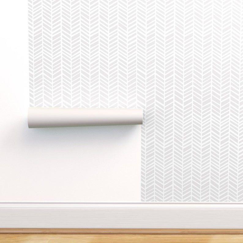 Chevron Wallpaper Herringbone Light Grey Macro By Friztin Etsy Grey Herringbone Wallpaper Herringbone Wallpaper Chevron Wallpaper