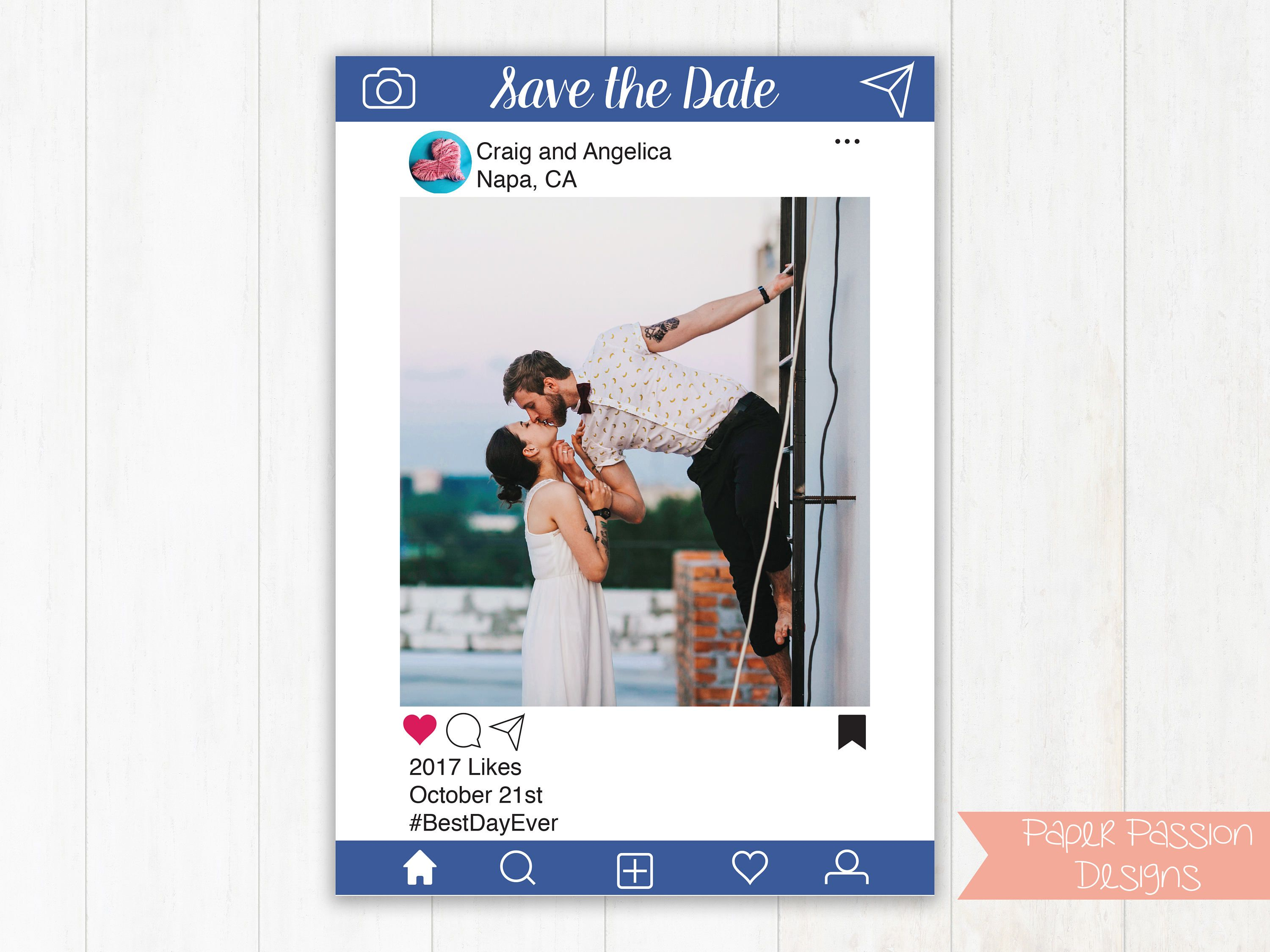 Editable Photo Card Save The Date Invitation Christmas Card Announcement Sip And See Blue Instagram Social Photo Cards Save The Date Social Media Design