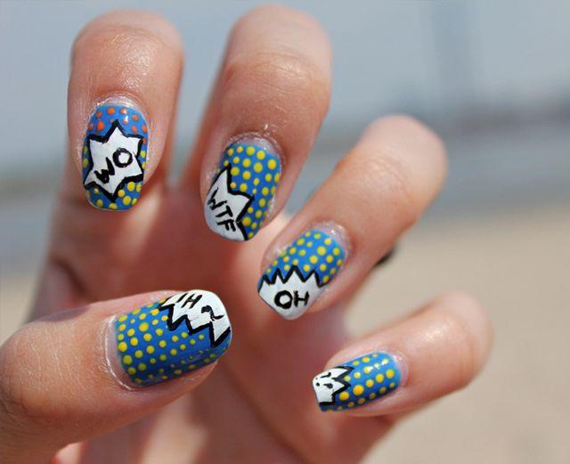 Rad Comics Nail Art Nails Pinterest Comic Nail Art Pop Art