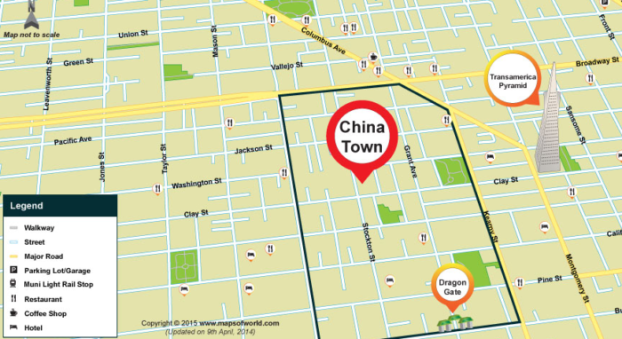 San Francisco Chinatown is about eight blocks long and has ... on miami chinatown map, chinatown singapore map, coit tower, presidio of san francisco, san francisco bay, lima chinatown map, union square map, flushing chinatown map, boston chinatown map, queens chinatown map, paris chinatown map, vancouver canada chinatown map, ocean beach, north beach, edmonton chinatown map, san jose, chinatown washington dc map, dallas chinatown map, manhattan chinatown map, lombard street, golden gate park, las vegas chinatown map, sacramento chinatown map, philadelphia chinatown map, transamerica pyramid, san francisco bay area, union square, haight ashbury map, golden gate bridge, san diego, 1906 san francisco earthquake, new york chinatown map, san francisco cable car system, alcatraz island, london chinatown map, coit tower map, 49-mile scenic drive,
