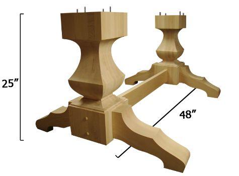 Old World Double Pedestal Base Wood Pedestal Table Base Wooden