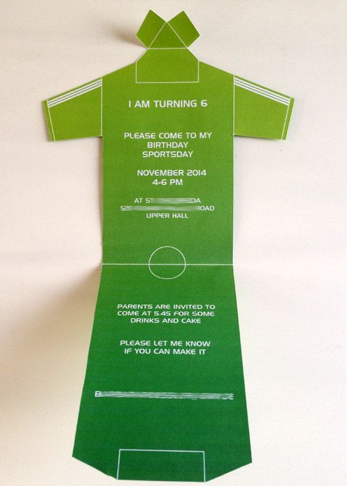 inside foldable football shirt invitation for boys birthday party
