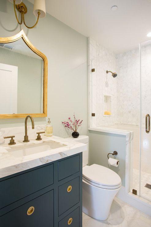 Fiorella Design Bathrooms Zanzibar Gold Leafed Mirror Vendome Double Sconce Green Gray Walls Gr Transitional Bathroom Bathrooms Remodel Kitchen And Bath