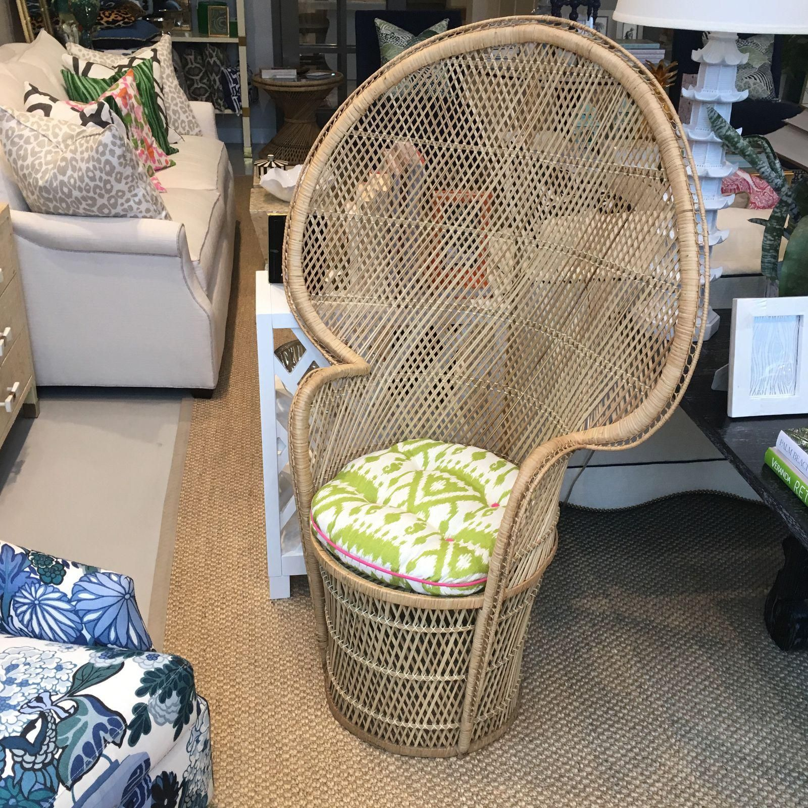 Vintage High Back Peacock Wicker Chair (With images