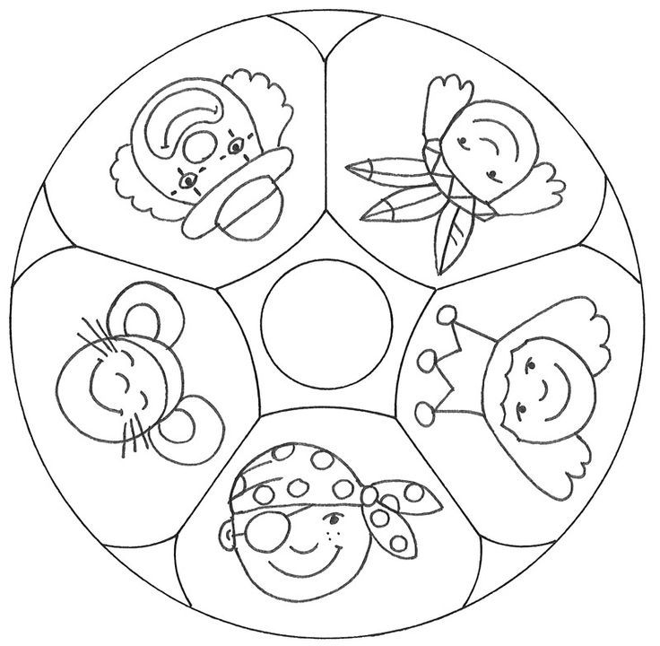 Malvolage Mutter Ein Mandala Mit Funf Verschiedenen Verkleidungen Fur Karneval Karneval Basteln Kindern Karneval Basteln Faschingsdeko Basteln