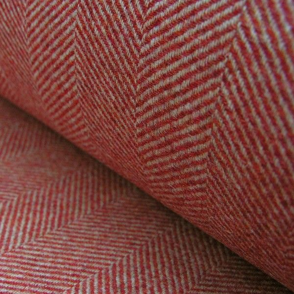 Red and Gold Upholstery Herringbone Fabric