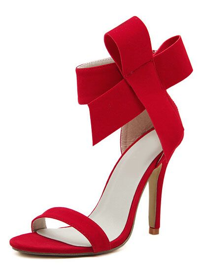 ced704a8347d Red With Bow Back Zipper High Heeled Sandals 31.00
