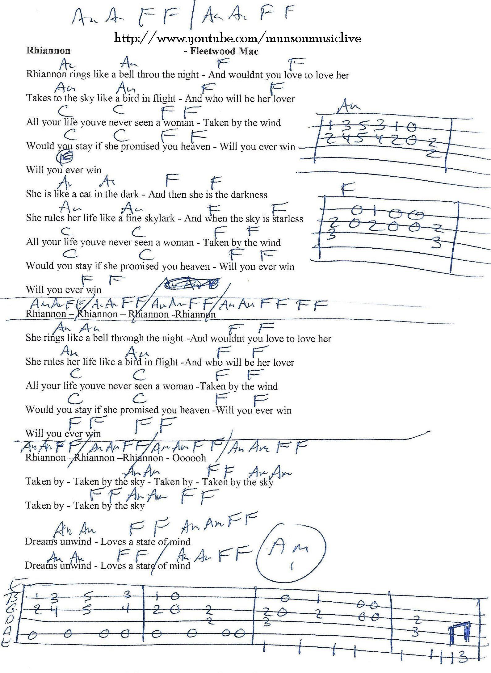 Rhiannon Fleetwood Mac Guitar Chord Chart Tabs Especiales