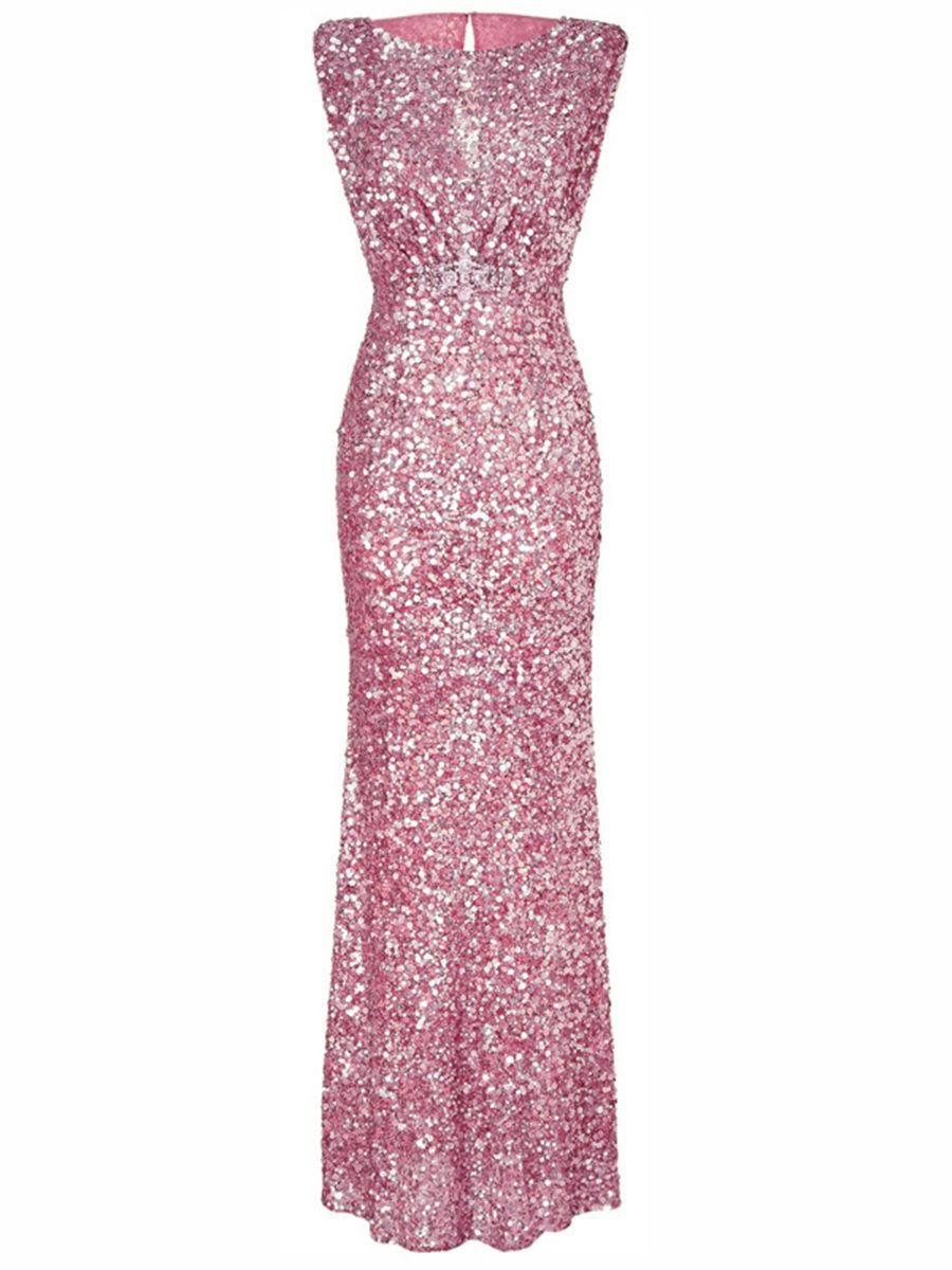 Fashionmia - #Fashionmia Sparkling Plain Sequin Round Neck Evening ...