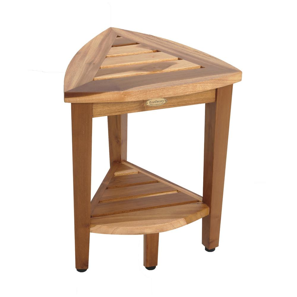Ecodecors Earthyteak Oasis Compact Teak Corner Shower Stool With