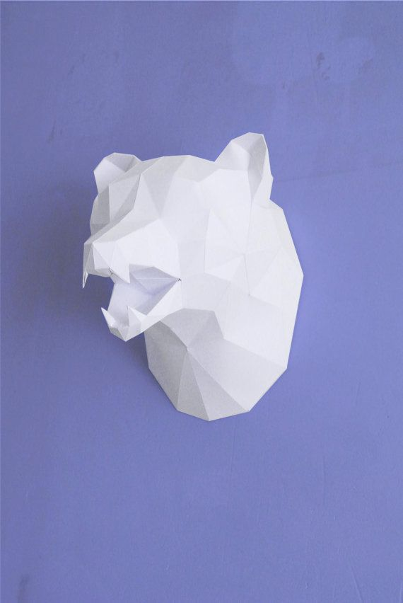 White To Brown Bear Head Trophy Tiny Paper World Papercraft