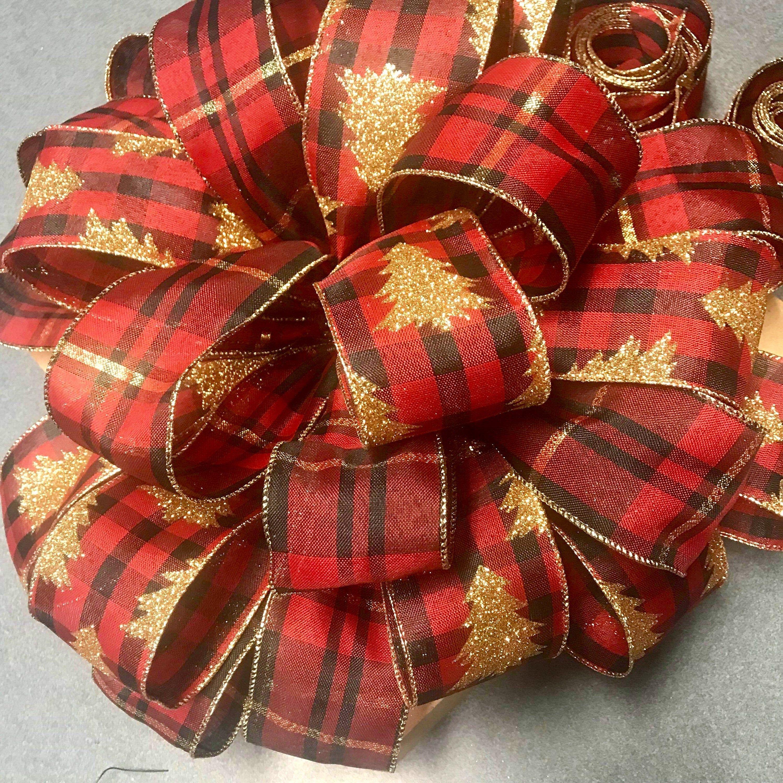 Buffalo Check Christmas Tree Top Bow, Large Bow, Christmas Bow #sunflowerchristmastree