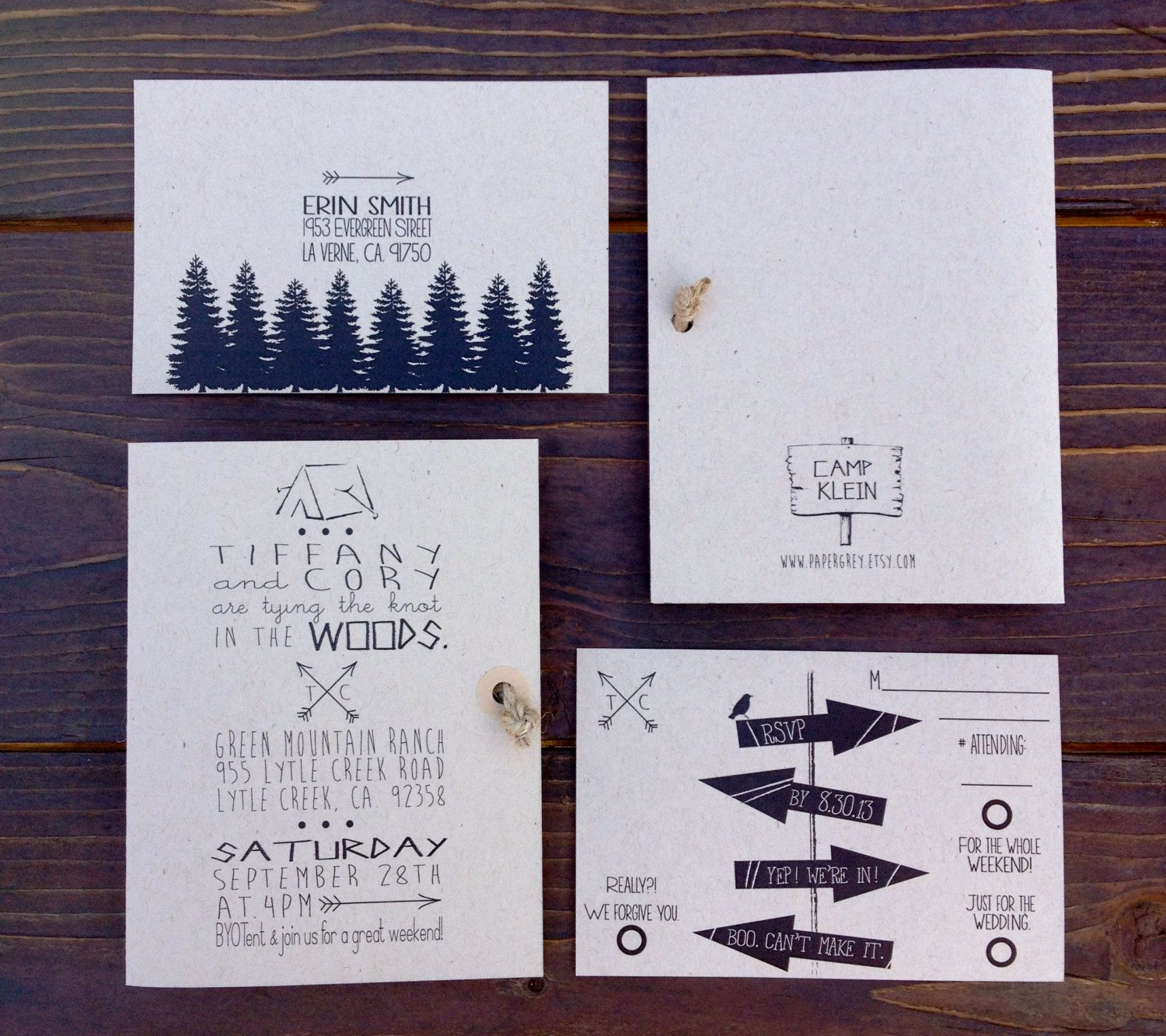 Woodsy Rustic Invitation. Twine Knot. Camping by PaperGrey on Etsy ...