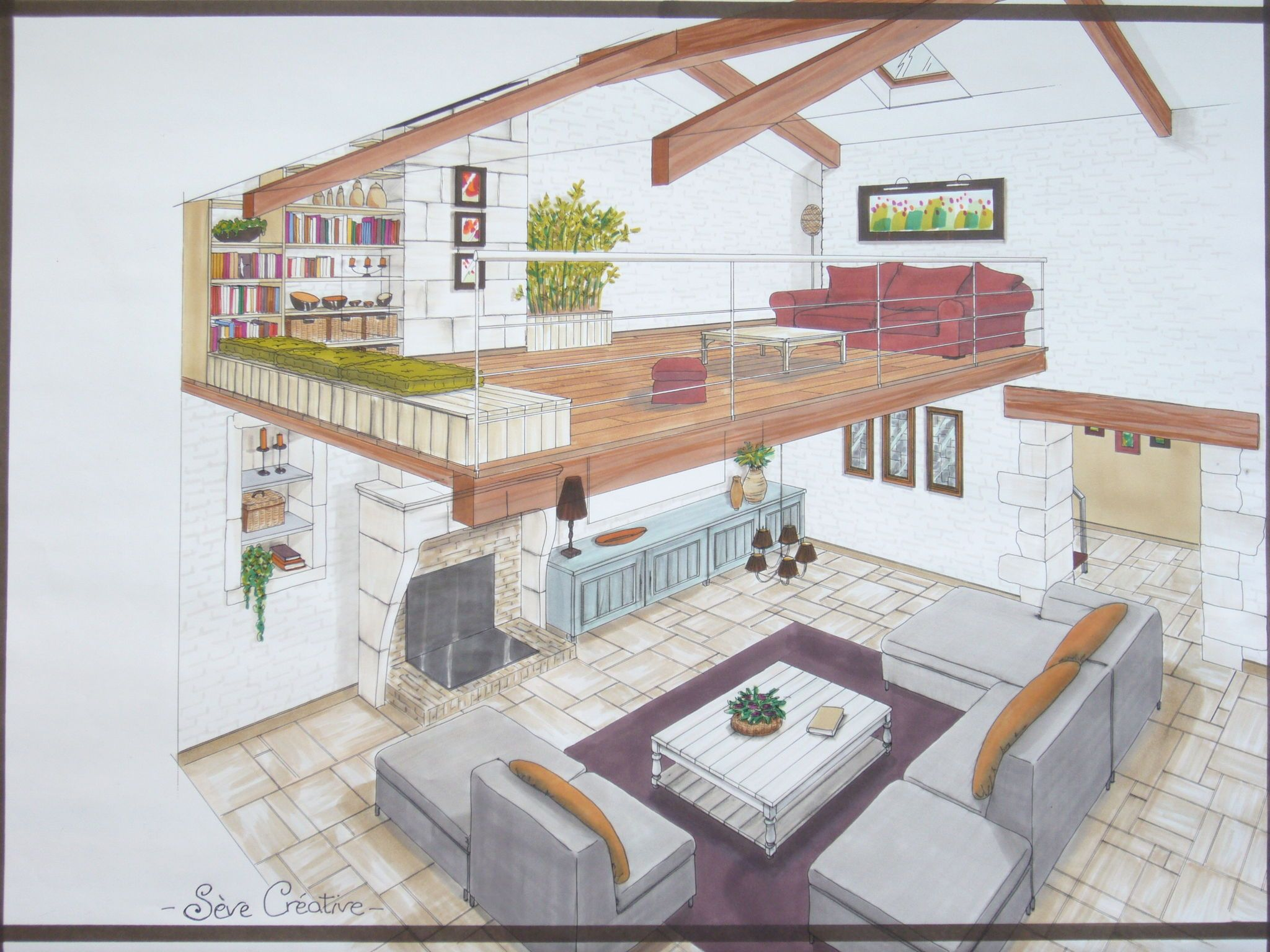 Plan De Maison Mezanine : Salon mezzanine plans perspectives esquisses