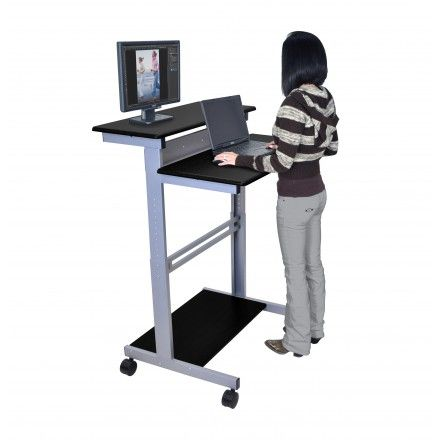 Mobile Fixed Height Two Tier Stand Up Desk Stand Up Desk Stand Up Workstation Work Station Desk