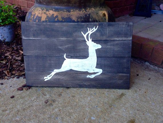 White Deer Silhouette Hand Painted on Reclaimed Pallet Wood