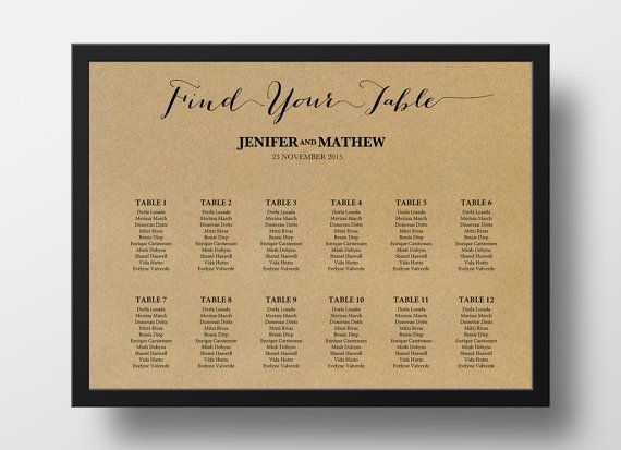 Wedding Seating Chart Poster Template Printable Editable PowerPoint Instant Download DIY You Print 18x24 And 24x36 Kraft