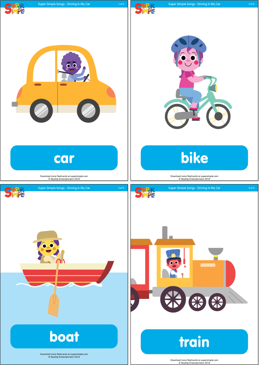 Flashcard To Teach The Names Of Vehicles Includes Flashcards For Car Bike Boat Train Airplane In 2020 Flashcards Flashcards For Kids Fun Songs For Kids