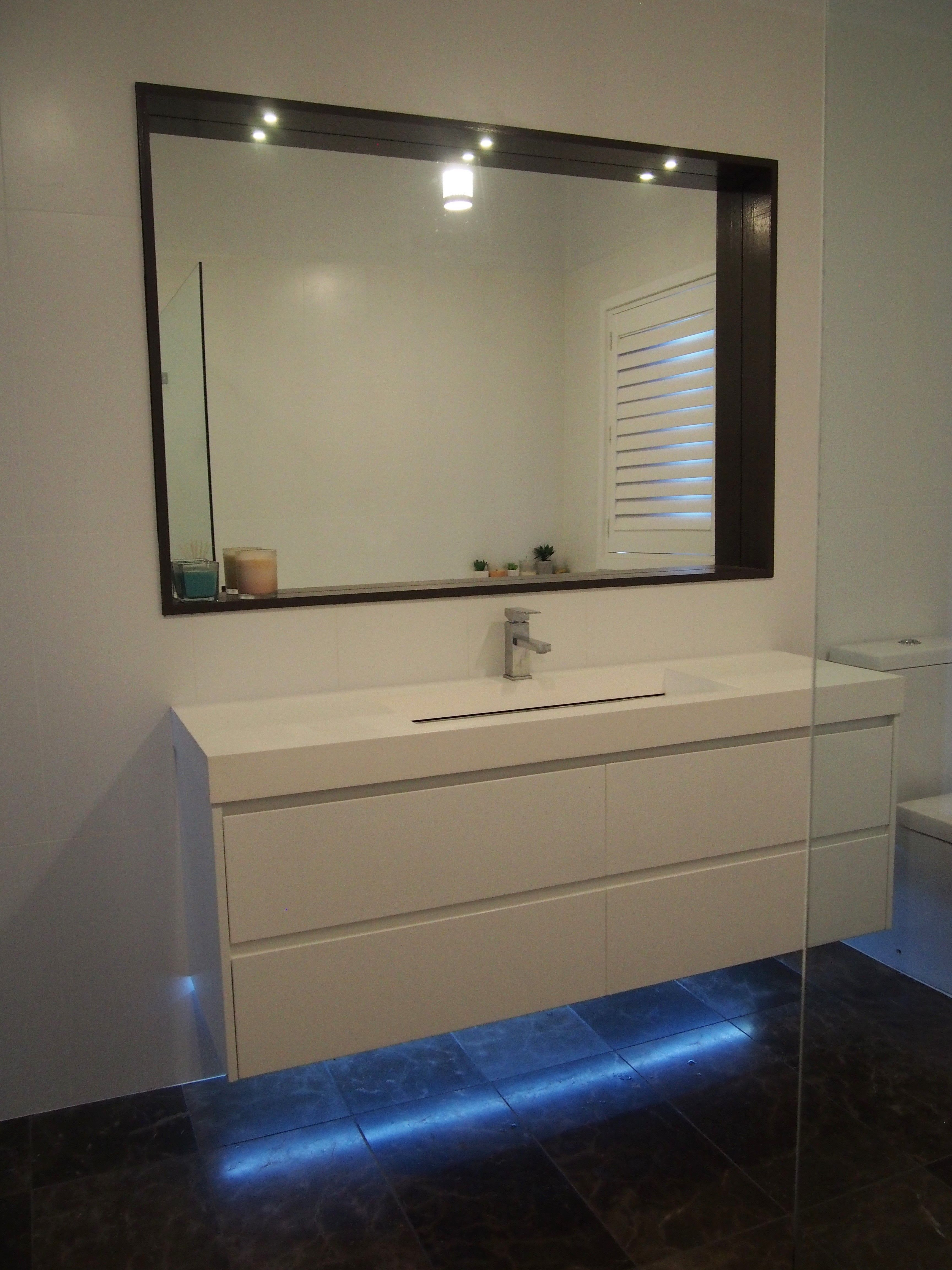 Vanity Mirror With Recessed Lights : Bathroom lighting LED, recessed mirror lights & under vanity LED strip lighting all in warm ...