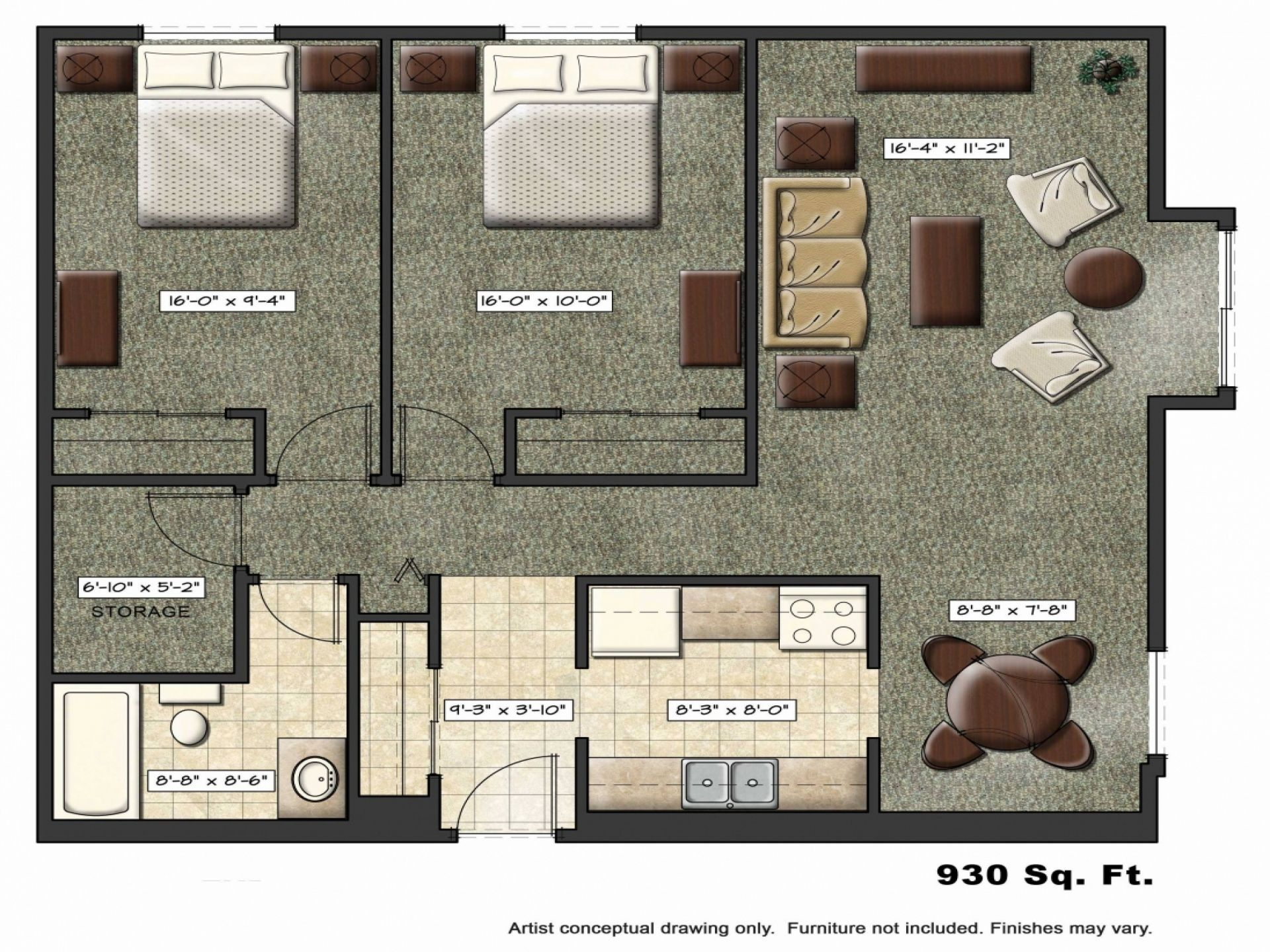 Tropical Studio Apartment Floor Plans New York
