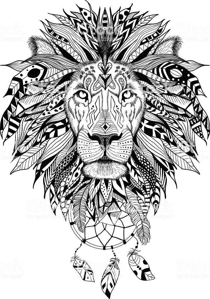 Download Detailed Lion in aztec style with dream catchers. Perfect ...
