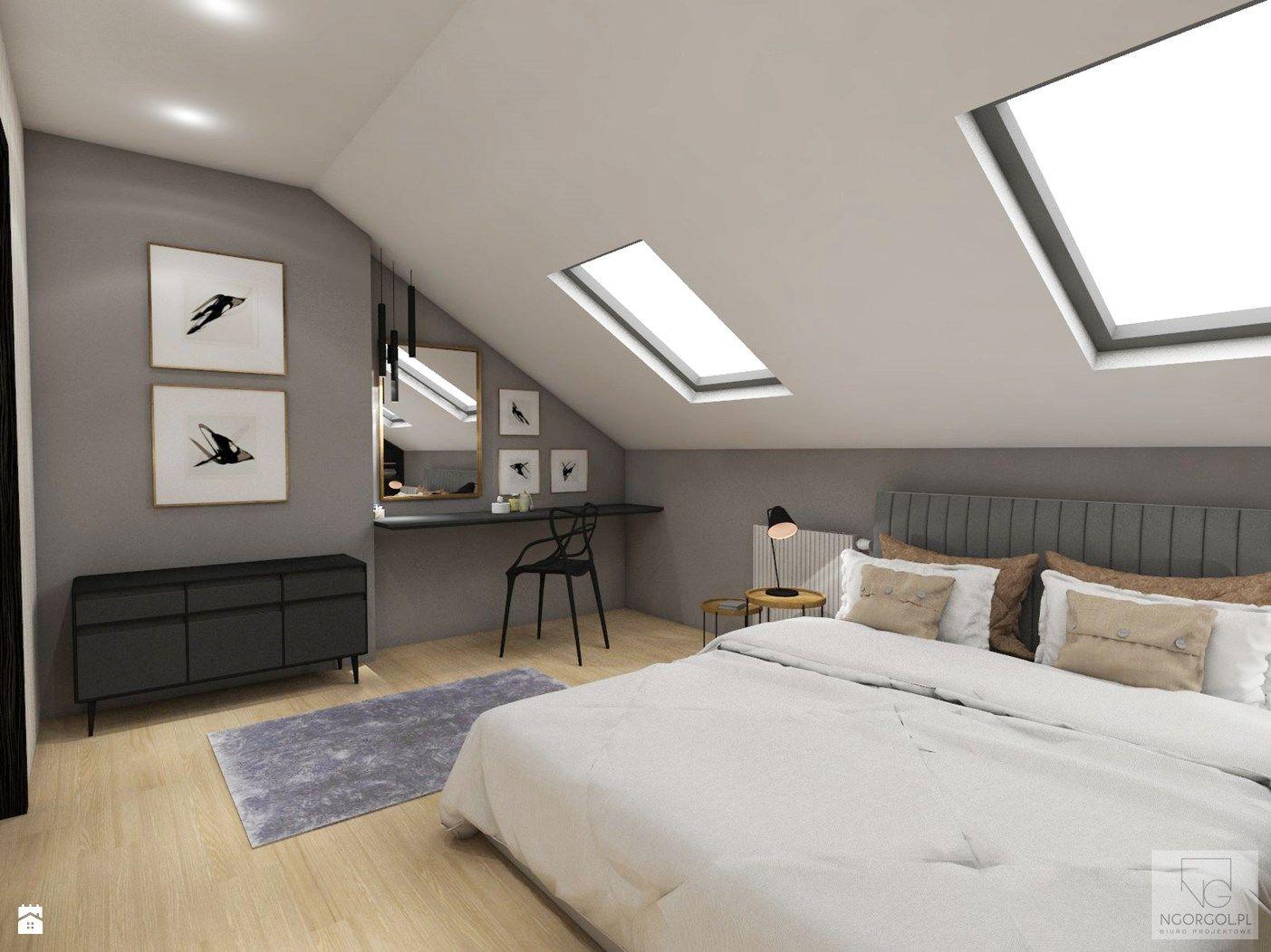 sypialnia na poddaszu proszowice zdj cie od ngorgol sypialnia styl eklektyczny ngorgol. Black Bedroom Furniture Sets. Home Design Ideas
