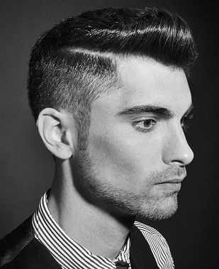 Short Brown Straight Shaved Sides Quiff Hairstyles For Men Mens