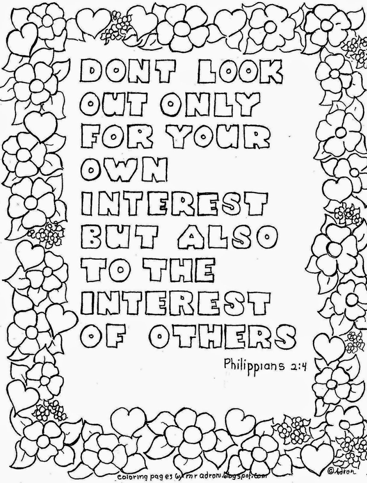 Look To The Interest Of Others Printable Coloring Page Philippians