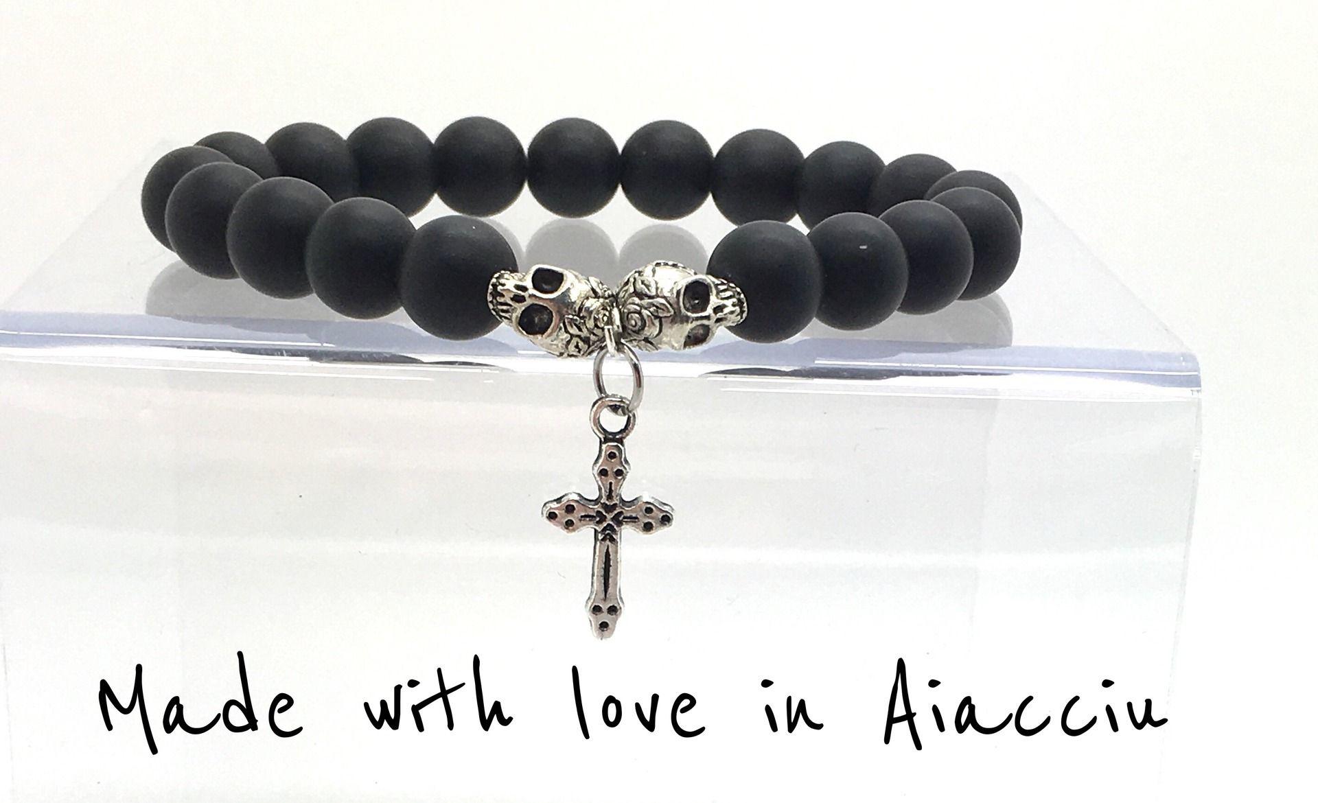 Bracelet homme agate noire