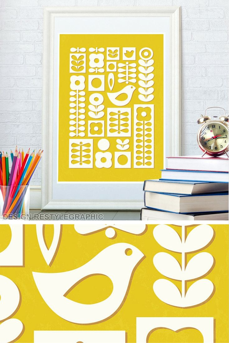 Nursery Prints, Scandinavian Folk Art Print, Kids Poster, Mid ...