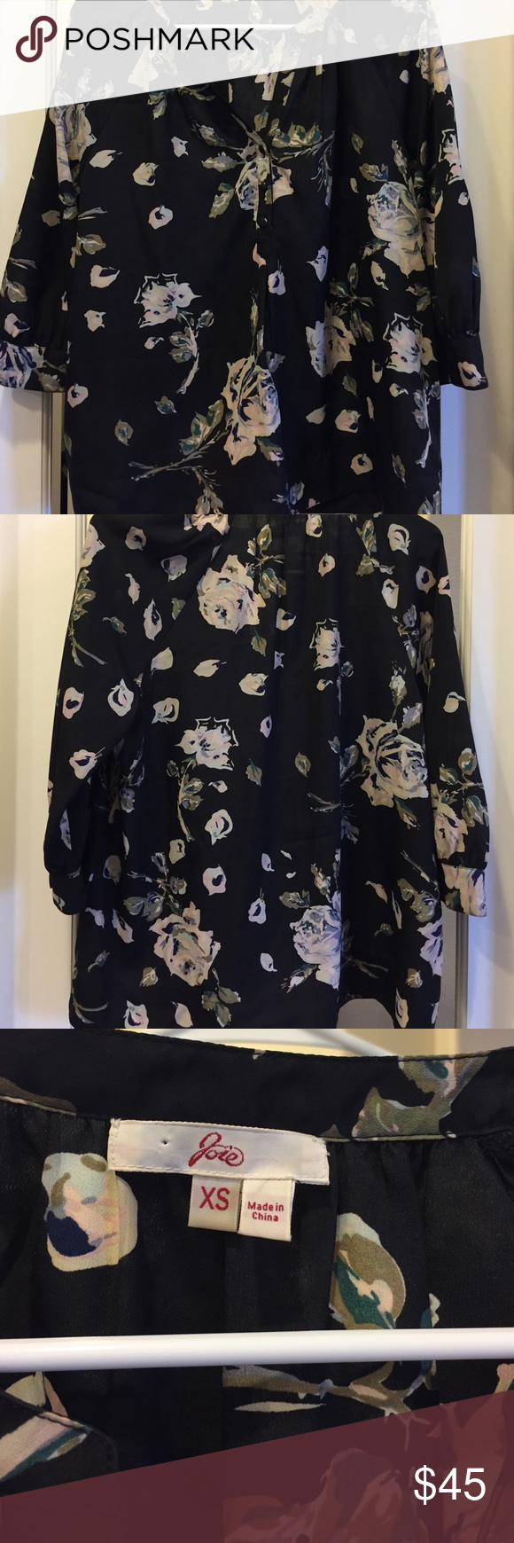 Joie floral blouse XS Beautiful floral print silk blouse from Joie. Joie Tops Blouses
