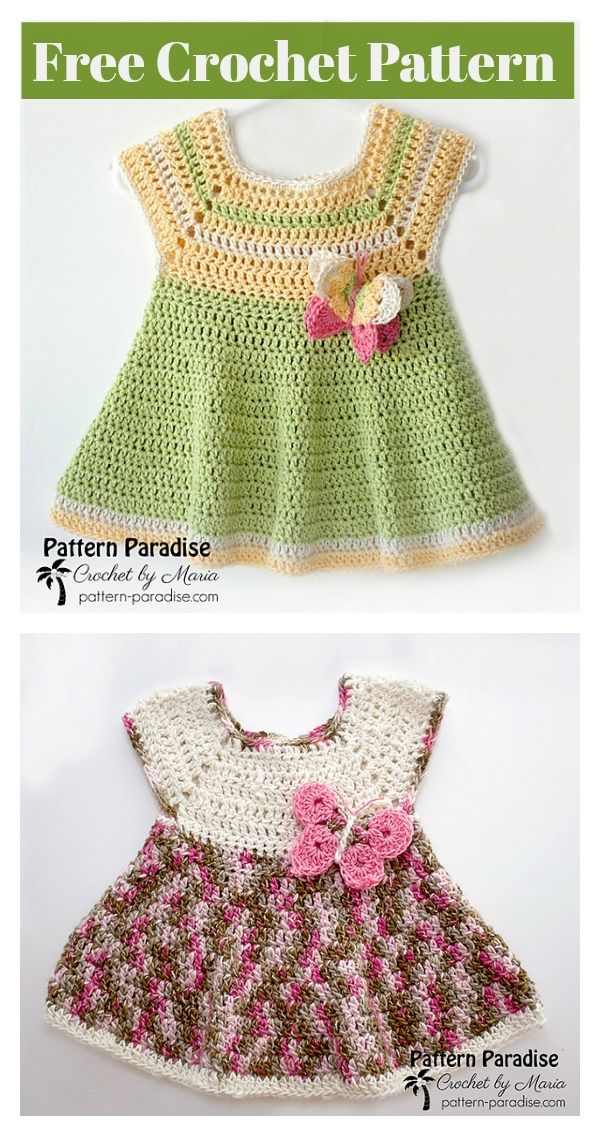 Butterfly Kisses Baby Dress Free Crochet Pattern Crochet Baby
