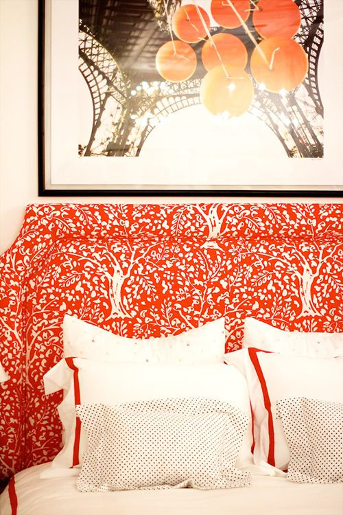 Simple Linens Paired With A Bold Headboard By Lilia