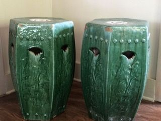 Remarkable Antique Chinese Garden Stools Pair Of Circa 1800 1840 Green Theyellowbook Wood Chair Design Ideas Theyellowbookinfo