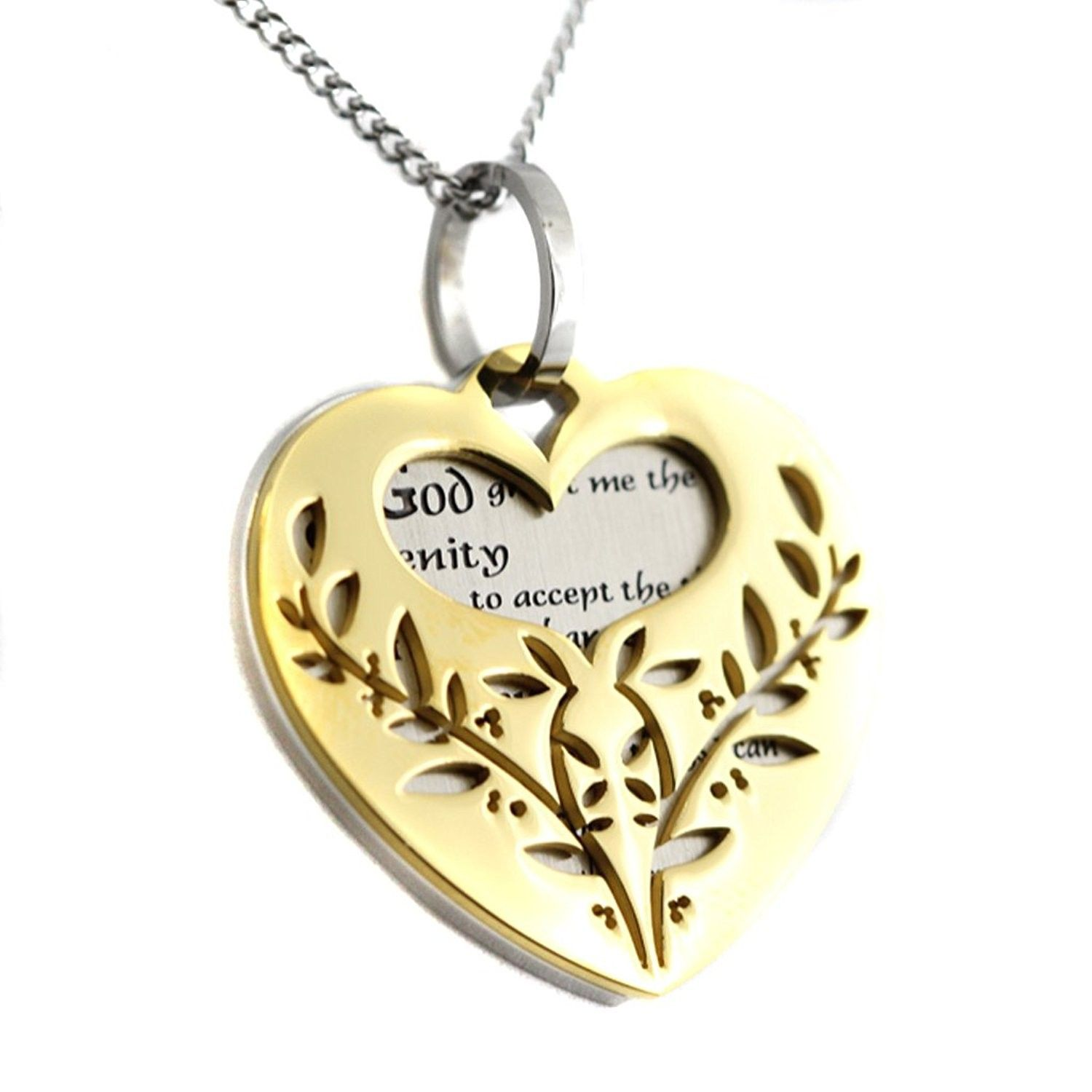 Filigree Serenity Prayer Heart Shaped Two Tone Two Piece
