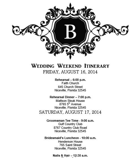Wedding itinerary, Wedding itinerary template - bridetodo - format for an agenda