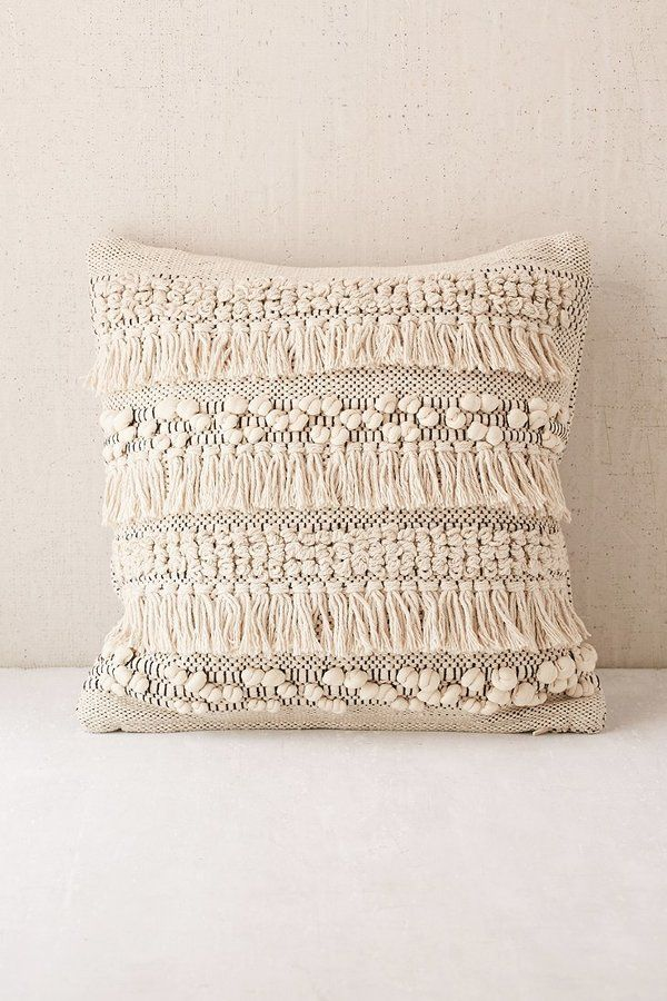 Bettwäsche Bohemian Anita Woven Shag Pillow Boho, Bohemian Home Decor, Fringe