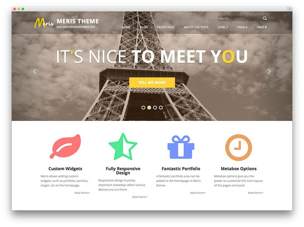 Meris - free WordPress theme wordpress themes Pinterest - wordpress resume template