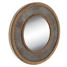 Elegant Ridged Metal and Wood Round Wall Mirror (Farmhouse ...