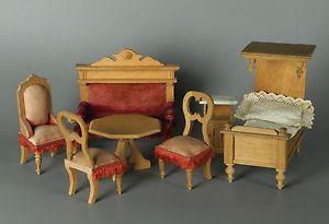 Antike Puppenstuben Möbel Um 1900 2 Stühle Sessel Couch Bett