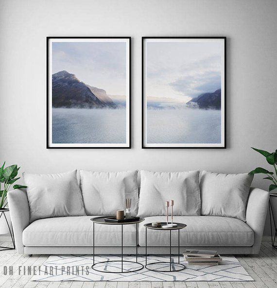 Minimalist Set Of 2 Prints Foggy Mountain Wall Art Prints Etsy In 2021 Mountain Art Print Mountain Wall Art Modern Art Diy