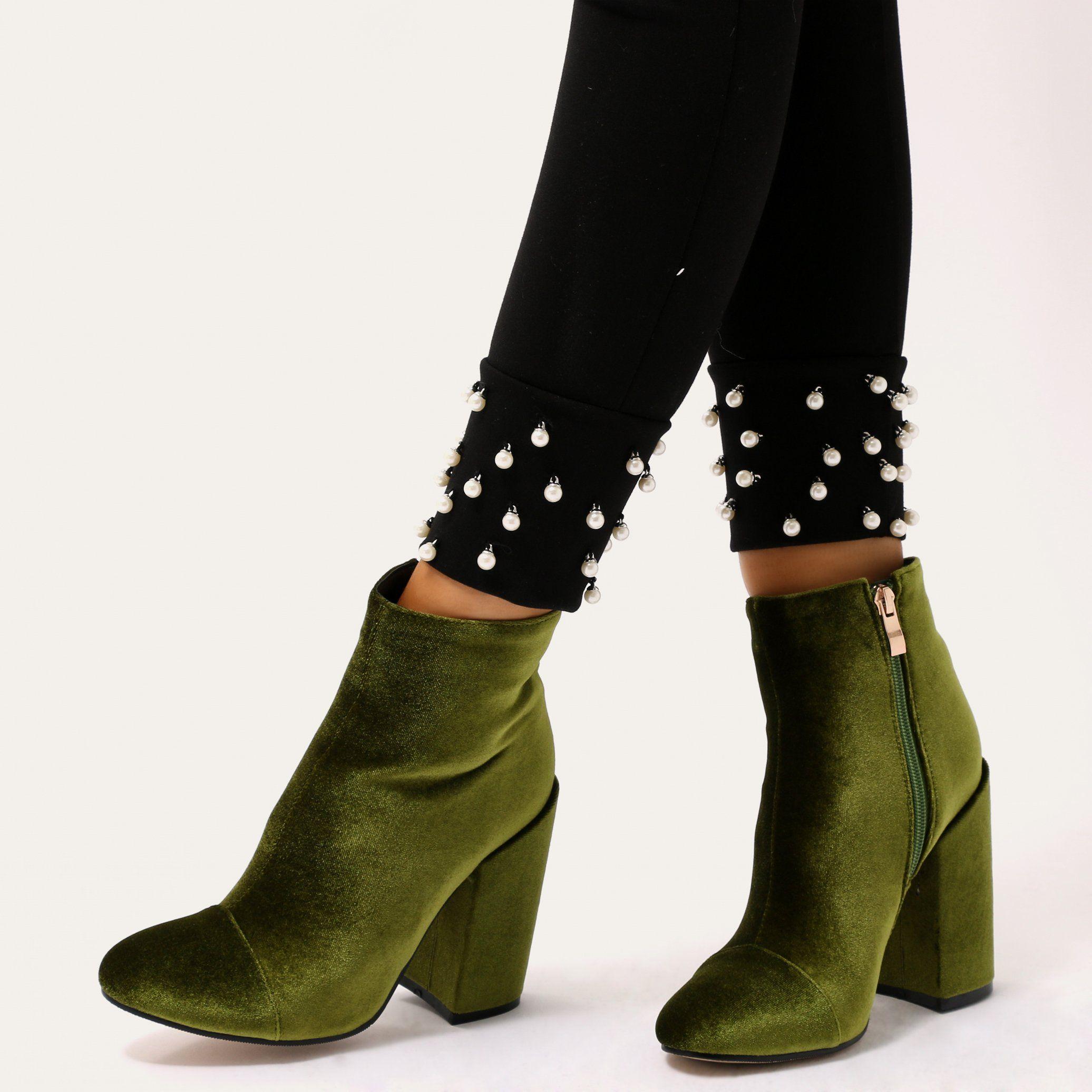 velvet chunky heel boots