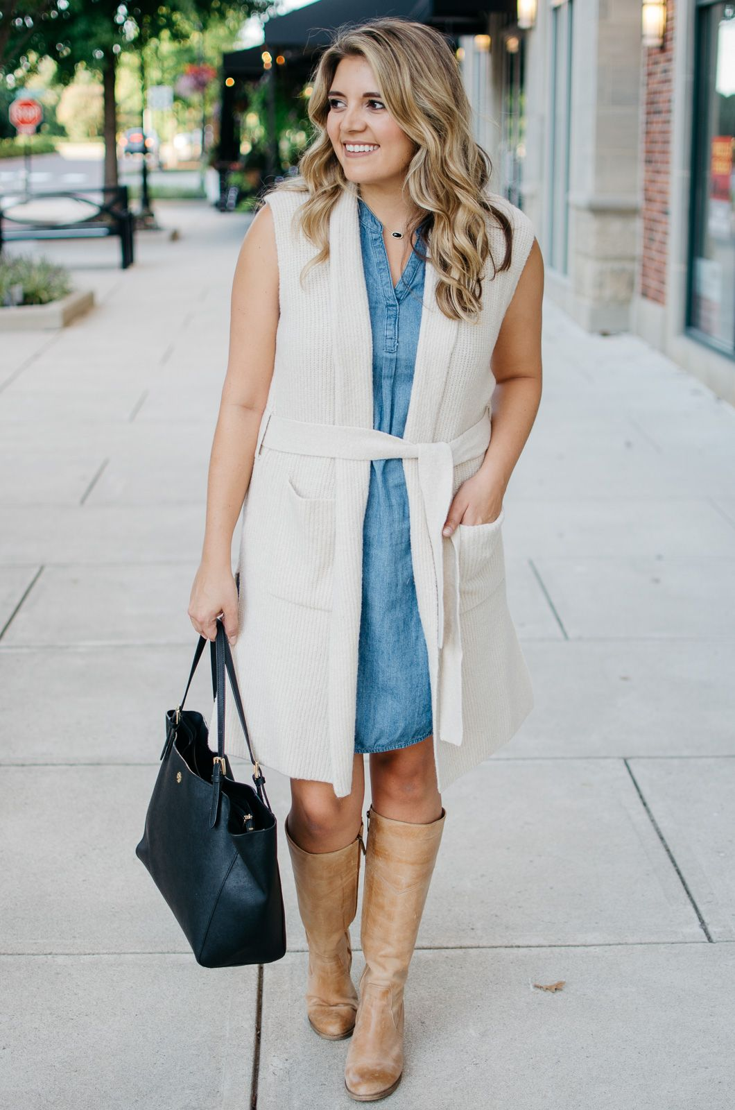 two ways to wear a long sweater vest - sweater vest and a dress ...