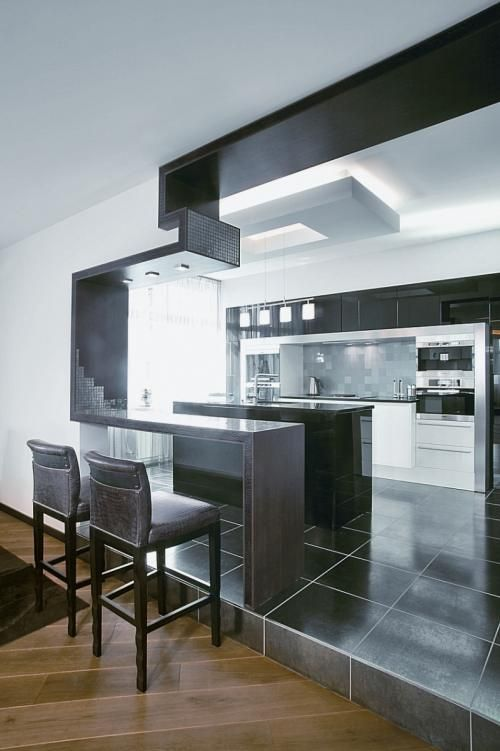 Original Divisor de Ambientes para una Cocina Moderna Kitchen - barras de cocina
