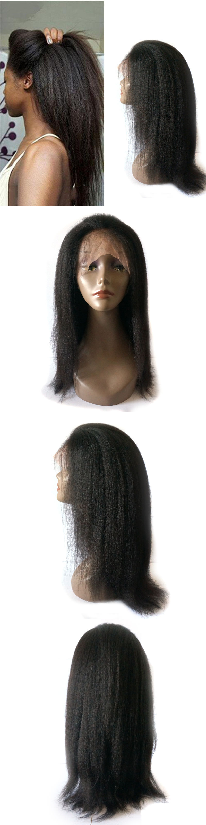 Wigs and Hairpieces  Pre Plucked 360 Lace Frontal Wig Italian Yaki  Brazilian Human Hair Wig 2ae68ed9f2