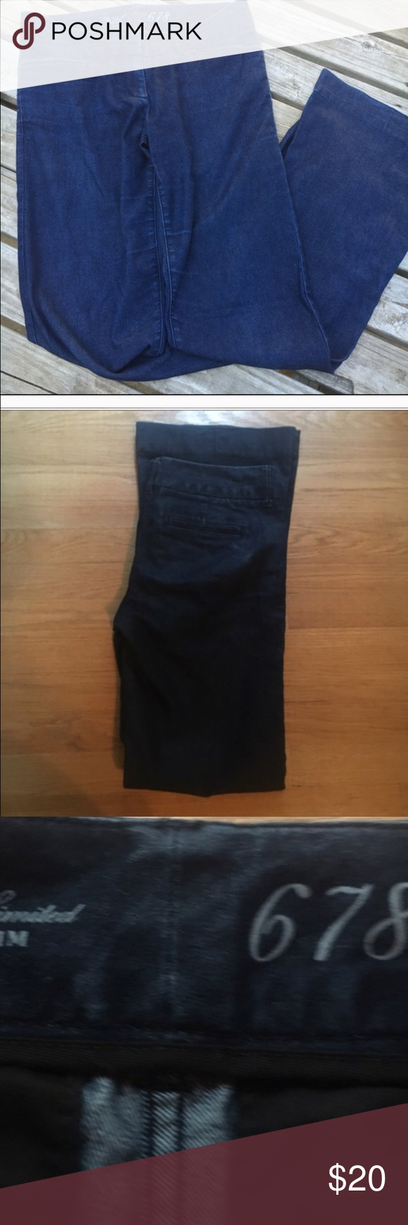 The limited size 6 long flat front flare trouser The limited trouser jean 678. 15 waist laying flat and 34 inseam. In good condition. Have a little stretch to them. The Limited Jeans Flare & Wide Leg